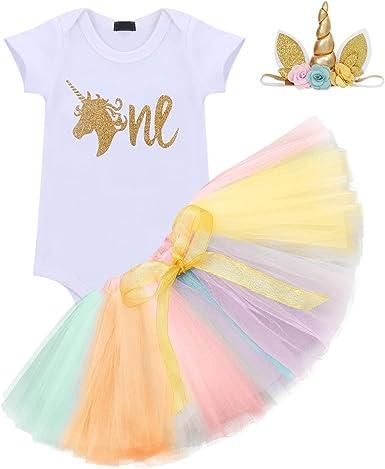 Baby Girl First 1st Birthday Unicorn Tops Romper Tutu Tulle Dress Skirt Outfits