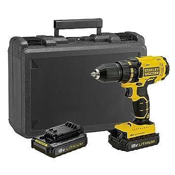 STANLEY FATMAX FMC601C2K-QW - Taladro atornillador 18V con 2 baterías de litio 1.3Ah y maletín: Amazon.es: Bricolaje y herramientas