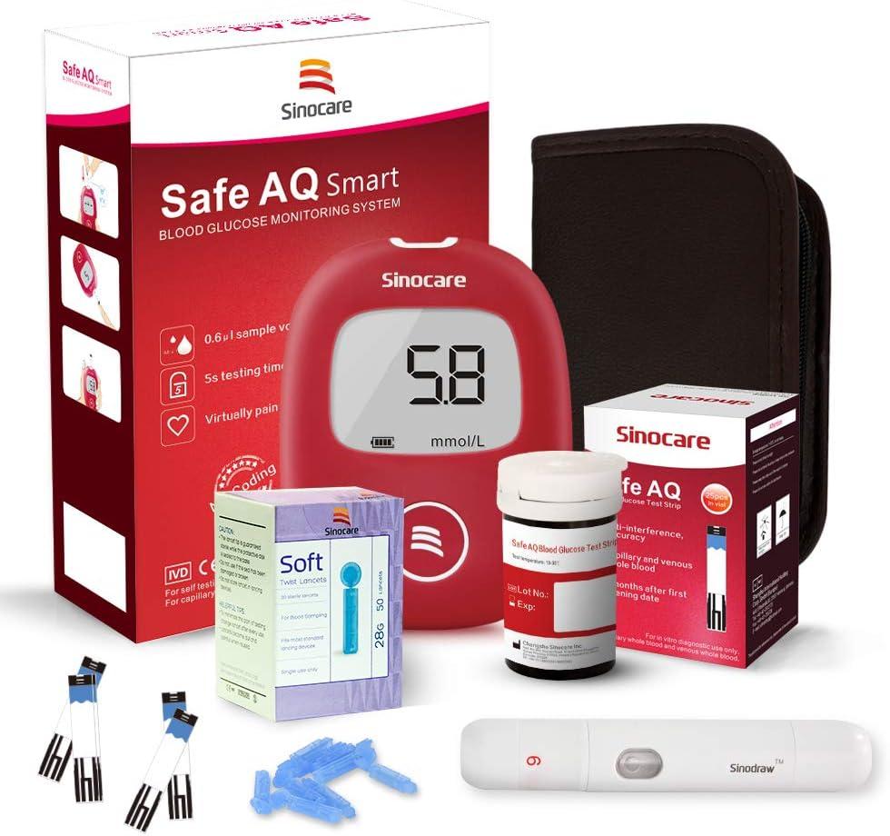 sinocare Kit de prueba de diabetes/Monitor de glucosa en sangre Safe AQ con tiras sin código x 25 y lancetas sin dolor x 25 y estuche en mmol/L: Amazon.es: Salud y cuidado