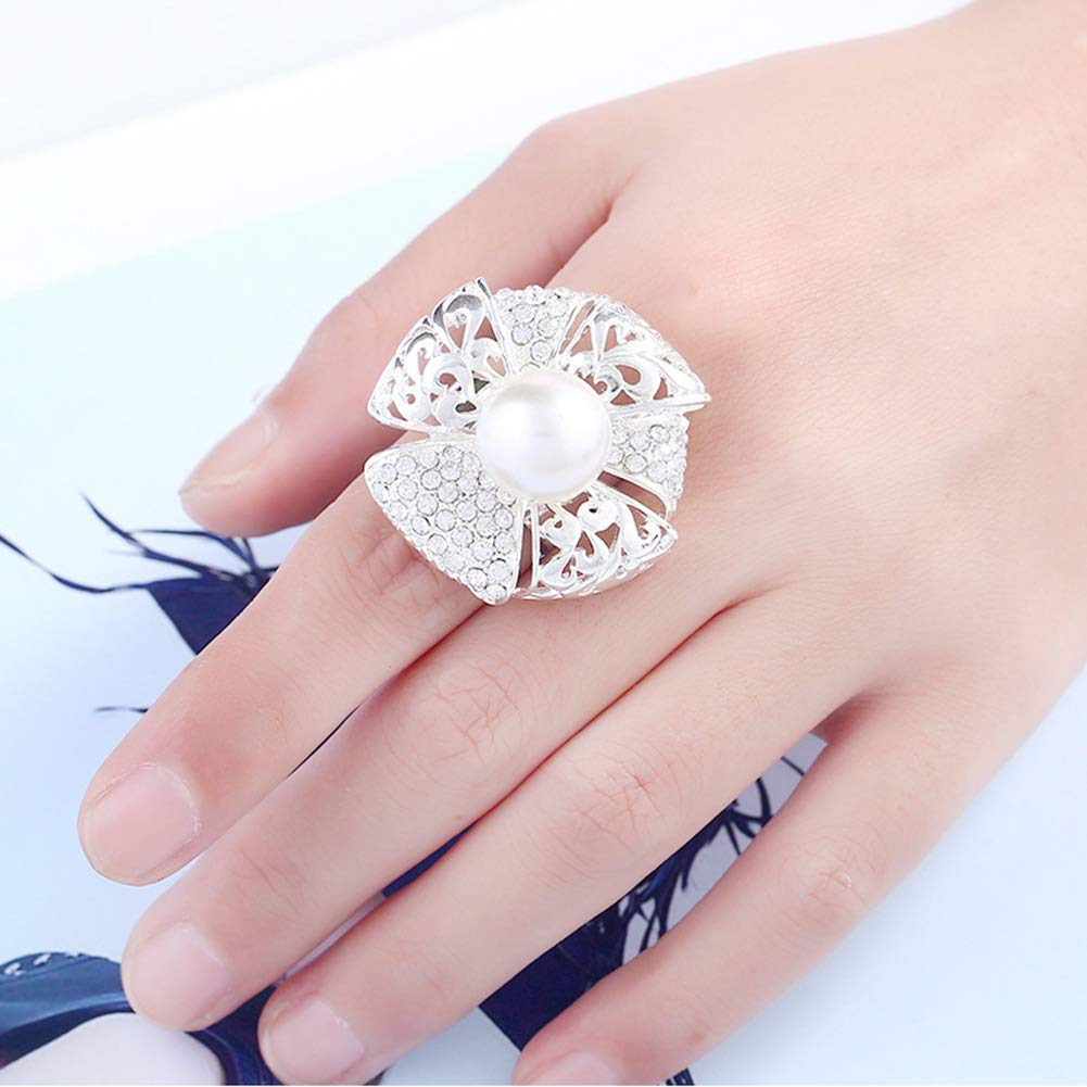 HSUMING Exaggeration Index Finger Ring Pearl Silver Flower Windmill Crystal Rings for Women Opening Adjustable