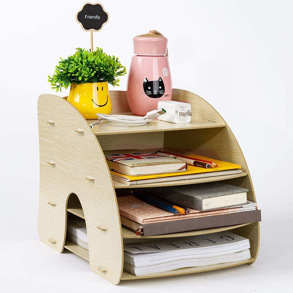 Drawer Vertical /& Horizontal Storage Space Wood DIY 8 Compartments Desk Organizer for File Folder//Literature//Notebook//Documents,Office Supplies Caddy with Pen Holder Memo Holder