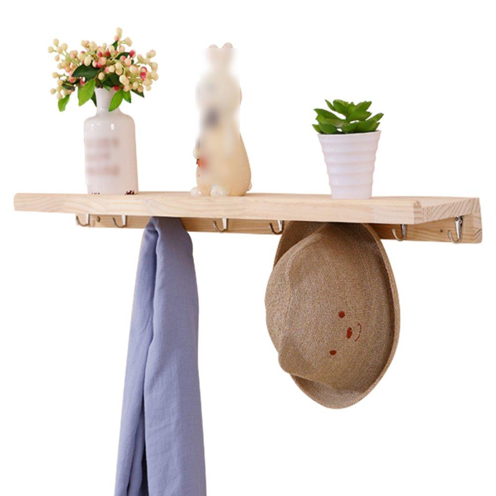 LIANGJUN 木製 帽子 ウォールハンガー フック リビングルーム エントランス 棚で、 2色可、 3サイズ ( 色 : 木の色 , サイズ さいず : 80X6cm ) B07B2P88ZW 80X6cm 木の色 木の色 80X6cm