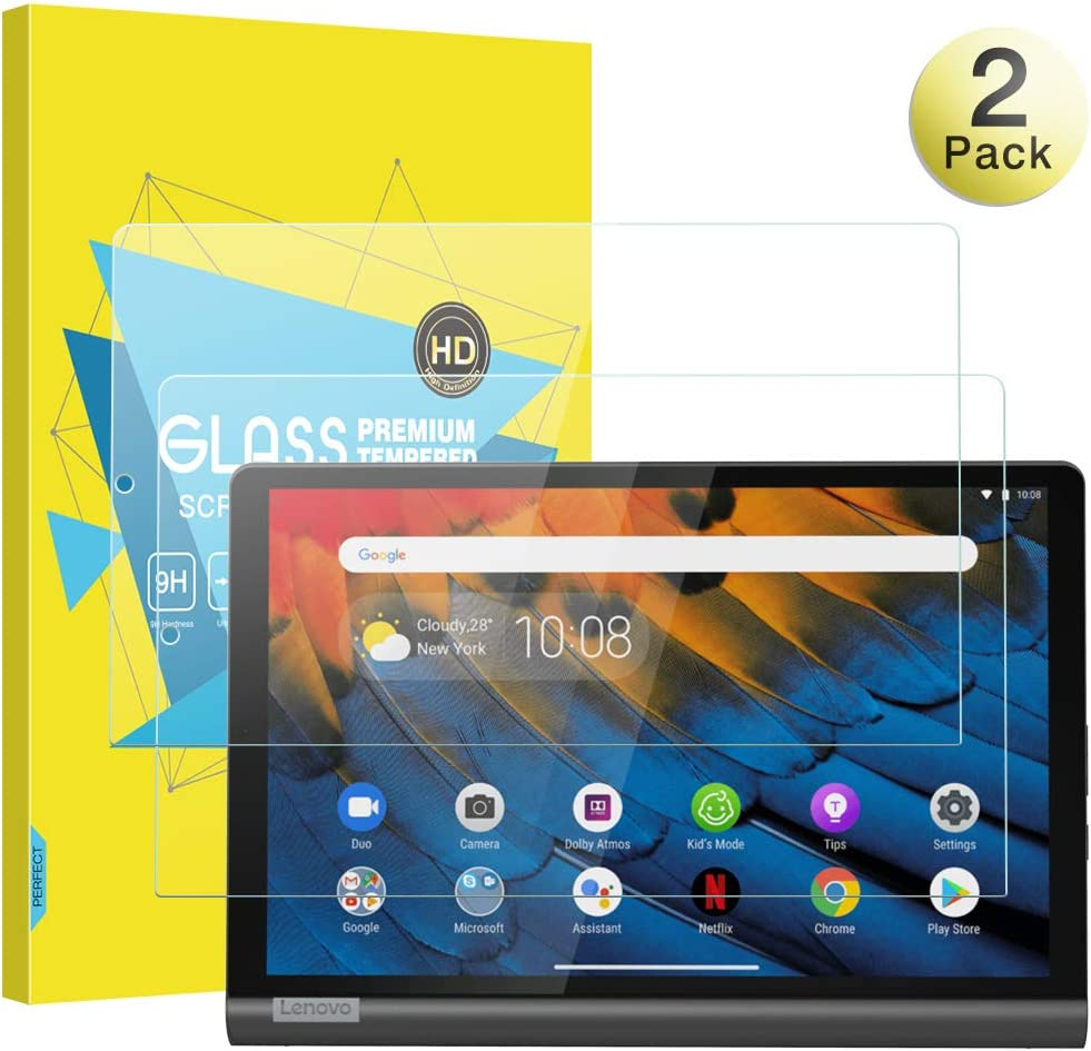 MoKo Screen Protector Compatible with Lenovo Yoga Smart Tab, [2-Pack] [Anti-Scratch] Round Edge 9H Hardness Ultra Clear Tempered Glass Screen Protector Film Fit Lenovo Yoga Smart Tab 10.1 Inch - Clear