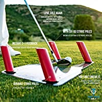 Pure Strike - Golf Swing Trainer With Six [6] Strike Poles and Bag – Golf Speed Trap, Slice Corrector and Speed Training – Golf Training Aids, Golf Accessories and Golf Gifts For Men by Top Tier Golf