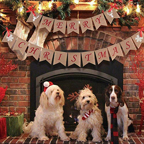Wmbetter Burlap Merry Christmas Banner Christmas Burlap Banner for Home Christmas Decor ()