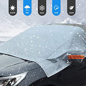 ELUTO Car Windshield Snow Cover Frost Guard Windshield Cover for Ice and Snow with Mirror Covers Winter Non Scratch Magnetic Waterproof Windshield Cover Protector