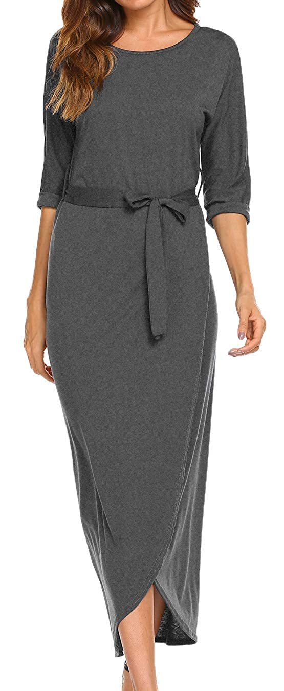39b3211620 LuckyMore Women's Maxi Dress 3/4 Sleeve Slit Casual Wrap Long Party Dresses