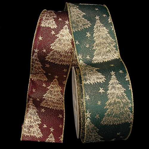 Burgundy Tannenbaum Taffeta Wired Craft Ribbon 3