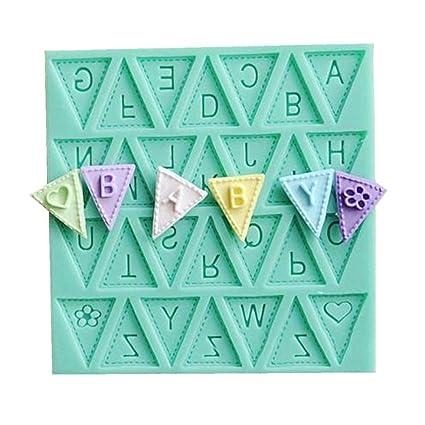 Affe bandera forma 26 Inglés letras Cake Molde de silicona chocolate fondant decoración molde para hornear