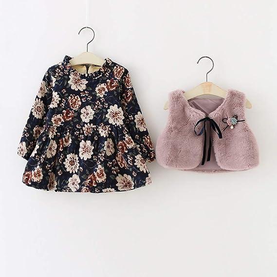 Lurryly❤Girls Princess Dress,Dresses with Jacket Floral Faux Fur Vest Set Warm Outftis 0-24 M