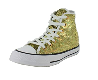 56a758a277b8 Converse Womens Chuck Taylor All Star Holiday Party Hi Top Gold White Black  Sneaker