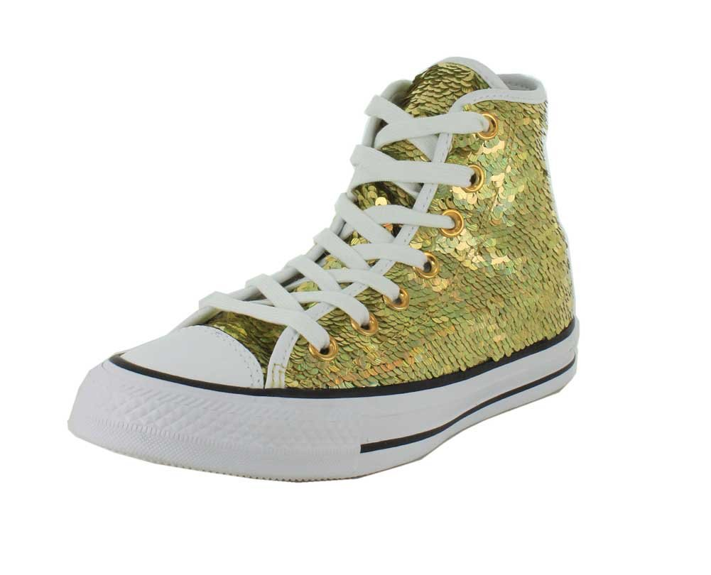 Converse Womens Sequined High Top Skateboarding Shoes B01CF53JCS 6.5 B(M) US|Gold