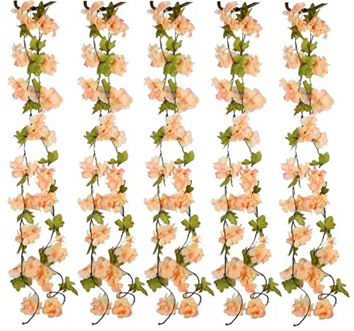 The Titus Shop 2 Pcs flower garland, artificial floral garland, fake flower garland, fake flower vines, Cherry Blossom Flowers vine, 6 Ft fake flowers decoration, artificial spring garland ()