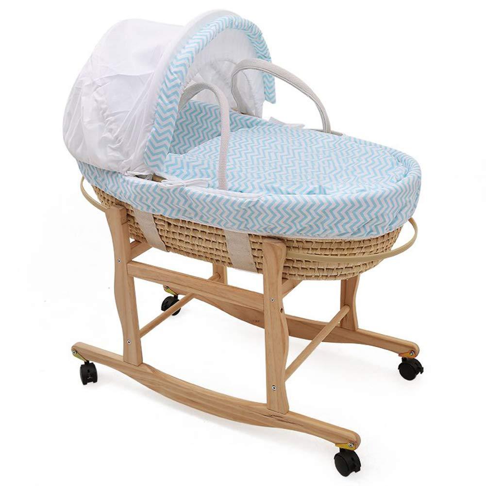 HEEGNPD Corn Husk Cradle Baby Crib Baby Cradle Crib Newborn Sleeping Basket,Blue by HEEGNPD