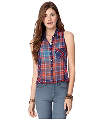 eb671dc15 Aeropostale Womens Sheer Plaid Button Up Shirt at Amazon Women's Clothing  store: