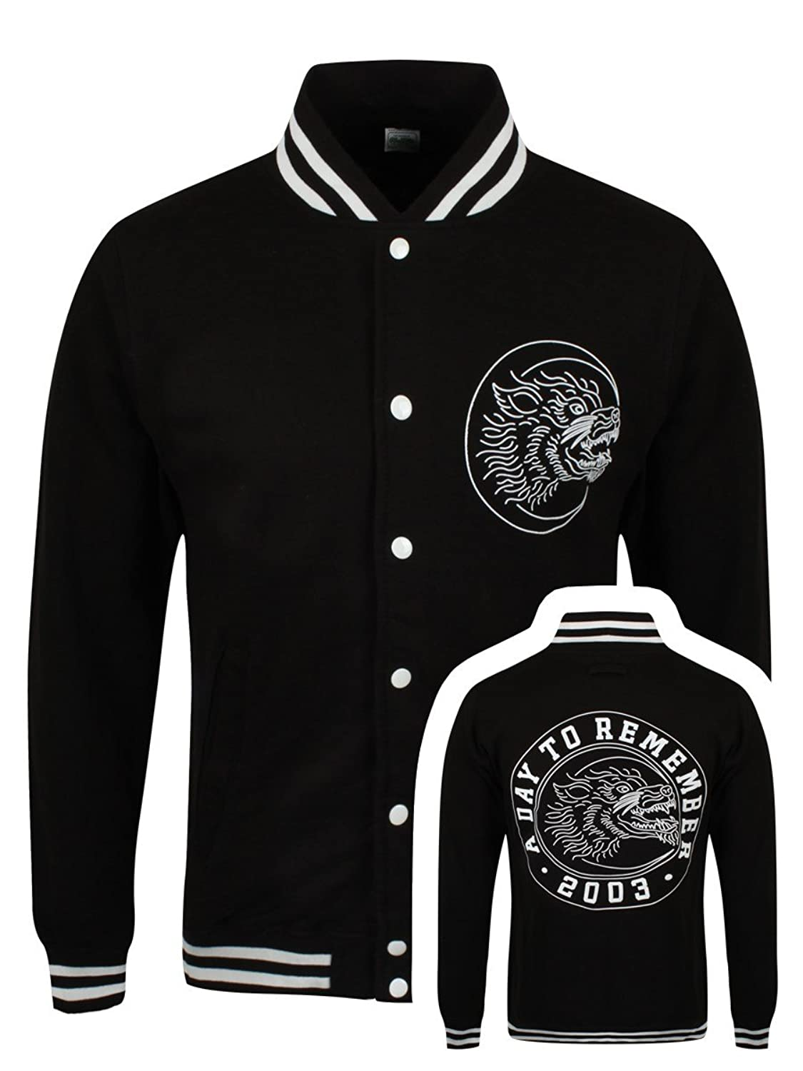 A Day To Remember Men's Wolf Baseball Varsity ADTR Jacket Black