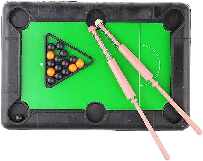 1 juego, billar la mesa de billar clásico conjunto con 6 stands con lateral unida/esquina bolsillos de las bolas de billar y palillos de la señal: Amazon.es: Juguetes y juegos
