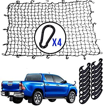 """4x6 Super Duty Bungee Cargo Net for Truck Bed Stretches to 8x12 Small 4/""""x4/"""" Mesh Holds Small and Large Loads Tighter 12 Tangle-free D Clip Carabiners"""