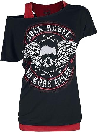 Rock Rebel by EMP Camiseta con Calavera Mujer Camiseta Negro, Regular: Amazon.es: Ropa y accesorios