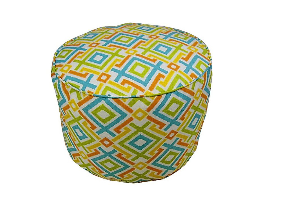 Lava Polyester Ottomans Lava Pillows Tropical Fresco - 17 X 12 Small Round Indoor/Outdoor Pouf 12 X 17 X 17 Inches Multicolored Model # 56678.998