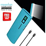 MOERDON Power Bank 11000mAh,Moveble LED flashlight Function Power Bank Rechargeable Battery Charger & all Smartphones [ Free 1 Extra Micro USB Cable ]