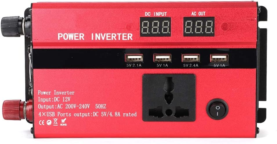 3000W Wechselrichter 12V bis 220V Auto-Wechselrichter Wandler mit LCD-Display USB-Anschluss Zigarettenanz/ünderanschl/üsse