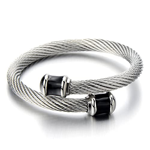 Amazon Com Coolsteelandbeyond Mens Stainless Steel Twisted Cable