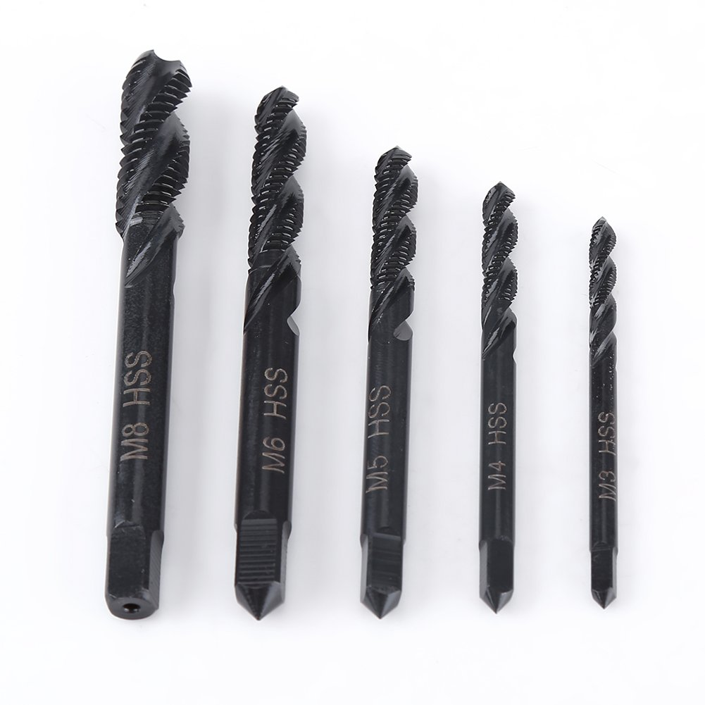 5pcs Metric Thread Tap Right Hand Spiral Flute Nitriding Coated HSS Tap Machine Tapping Thread Cutting Tool Suitable for M3-M8 Walfront