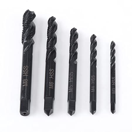 5PCS M3//M4 M5 M6 M8 Titanium Coated HSS Spiral Flute Metric Taps Drill Bits UK
