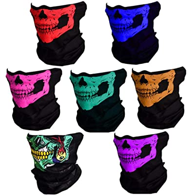 SUNREEK Skull Mask 7 Pack Windproof Dust-Proof Motorcycle Face Mask for Out Riding Motorcycle Bicycle Bike: Automotive