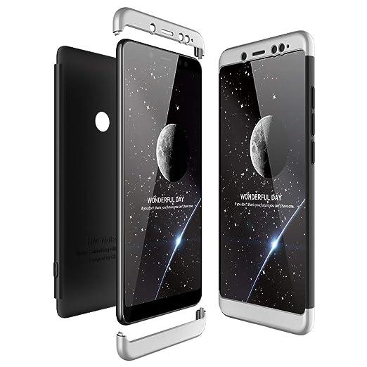 JMGoodstore Funda Compatible Xiaomi Redmi Note 5 Pro,Carcasa Redmi Note 5 Pro,360 Grados Integral Ambas Caras+Cristal Templado,3 in 1 Slim Dactilares Protectora Skin Caso Cover Plata+Negro: Amazon.es: Hogar