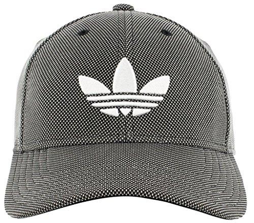 (adidas Men's Originals Trefoil Plus Precurve Structured Cap, Black Dot Knit/White, One)