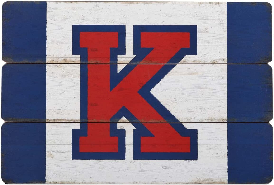 Open Road Brands Kansas University of Kansas Rustic Three Plank Wood Wall Art - Officially Licensed Product - Perfect Size and Addition to You Home Decor