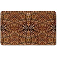 Memory Foam Bath Mat,Tribal Decor,Boho Bamboo Pattern Primitive Eastern Ethnic Spiritual Jagged Wood Style Art PrintPlush Wanderlust Bathroom Decor Mat Rug Carpet with Anti-Slip Backing,Ginger