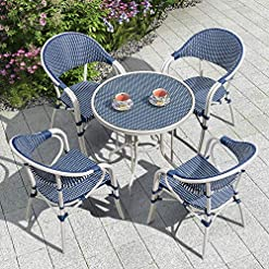 Garden and Outdoor PURPLE LEAF French Patio Dining Set Rattan Aluminum Large Size 5 Pieces with Armchairs and Tempered Glass Top Dining… patio dining sets