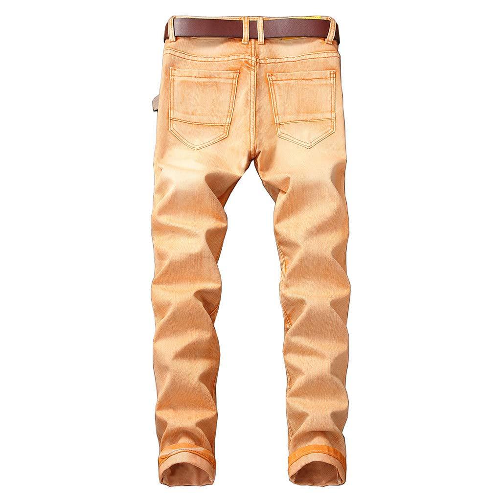 Tefamore Vaqueros Hombre Slim Fit RetroLong Jeans Pantalones ...