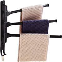Towel Rack Holder, Towel Bars Holder Swing Towel Racks Wall Mounted Towel Holder with Hooks 3-Bar Oil Rubbed Bar Swivel Hanger Swivel Towel Rack Towel Holder Swing Bar Rack Towel Bar Swivel Hanger