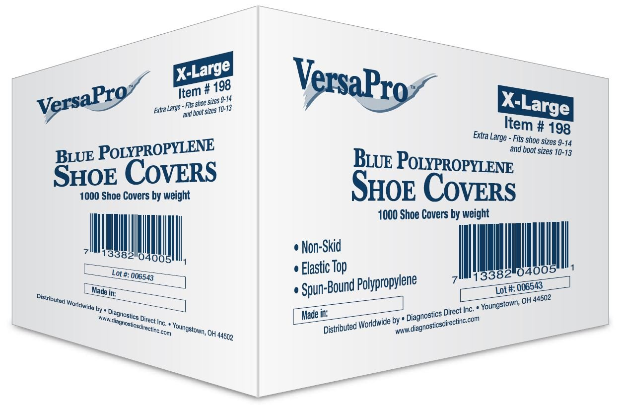 Disposable Non-Skid Shoe Covers - Blue (Extra Large, 1000/case) by Diagnostics Direct, Inc.