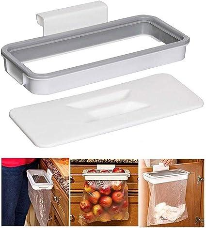 BSGP - Soporte para colgar bolsa de basura, con tapa, portátil, para armario de cocina, camping, viajes, almacenamiento de basura (gris)