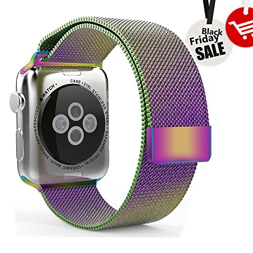 Leefrei Apple Watch Band, Milanese Loop Woven Stainless Steel Mesh with Magnetic Closure Bracelet Replacement Strap for Apple Watch Series 2 Series 1 42mm - Colorful