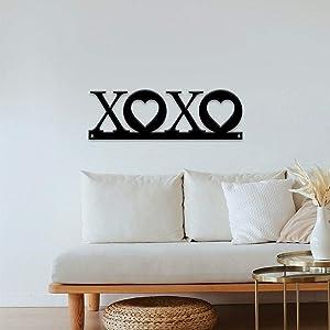 Love Decor, XOXO Sign Hugs and Kisses, Metal Wall Art, Valentine's Decor, Metal Word Art, Love Sign, Bedroom Decor, Heart Decor