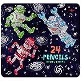 eeBoo Silver Robots 24 Color Pencils