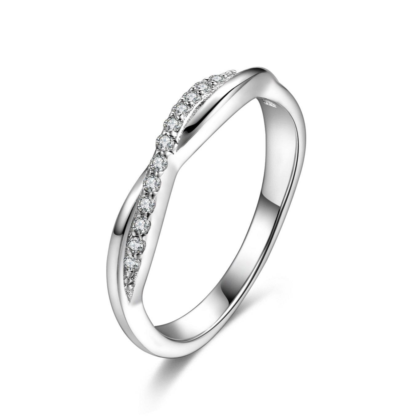 Infinity Love Cubic Zirconia 925 Sterling Silver Stackable Endless Eternity Ring Band Size 7