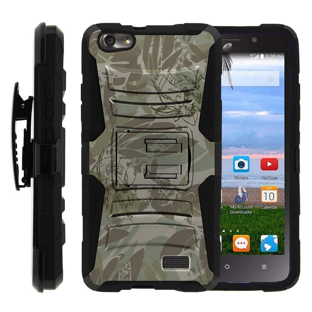 TurtleArmor | Huawei Raven Case LTE | H892L [Hyper Shock] High Duty Proof Belt Holster Clip Cover Kickstand Gel Hard Combo Camouflage Case - Brown Leaves Flowers