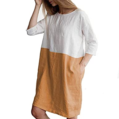 fa325f2b07 Helisopus Women s Cotton Linen Summer Dress Soft Loose Patchwork Plus Size  Three-Quarter Sleeves Dresses at Amazon Women s Clothing store