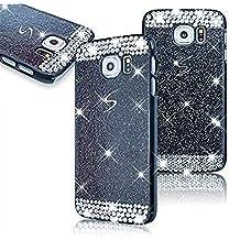 Samsung Galaxy S6 Edge SM-G925 Diamond Hollow Case,Vandot Ultra Slim 3D Bling Sparkling Crystal Rhinestone Unique Design PC Hard Back Cellphone Cover,High Quality Anti-Scratch Protective Skin Shell-Black