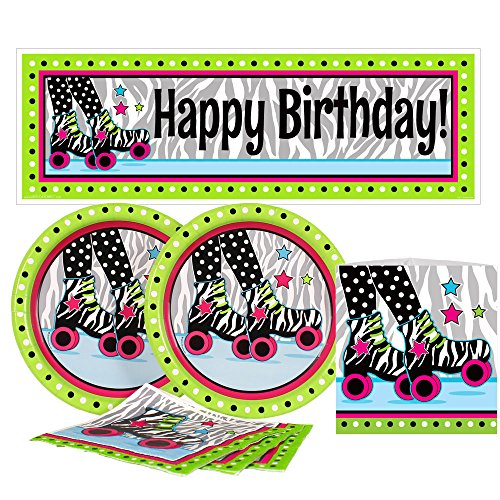 Birthday Direct Retro Roller Skate Value Party Kit for Up to 16 Guests Includes Plates, Napkins, Banners, and Decorations - 37 pieces - Zebra, Skating Party Supplies for Girls Birthday, Sleepover -
