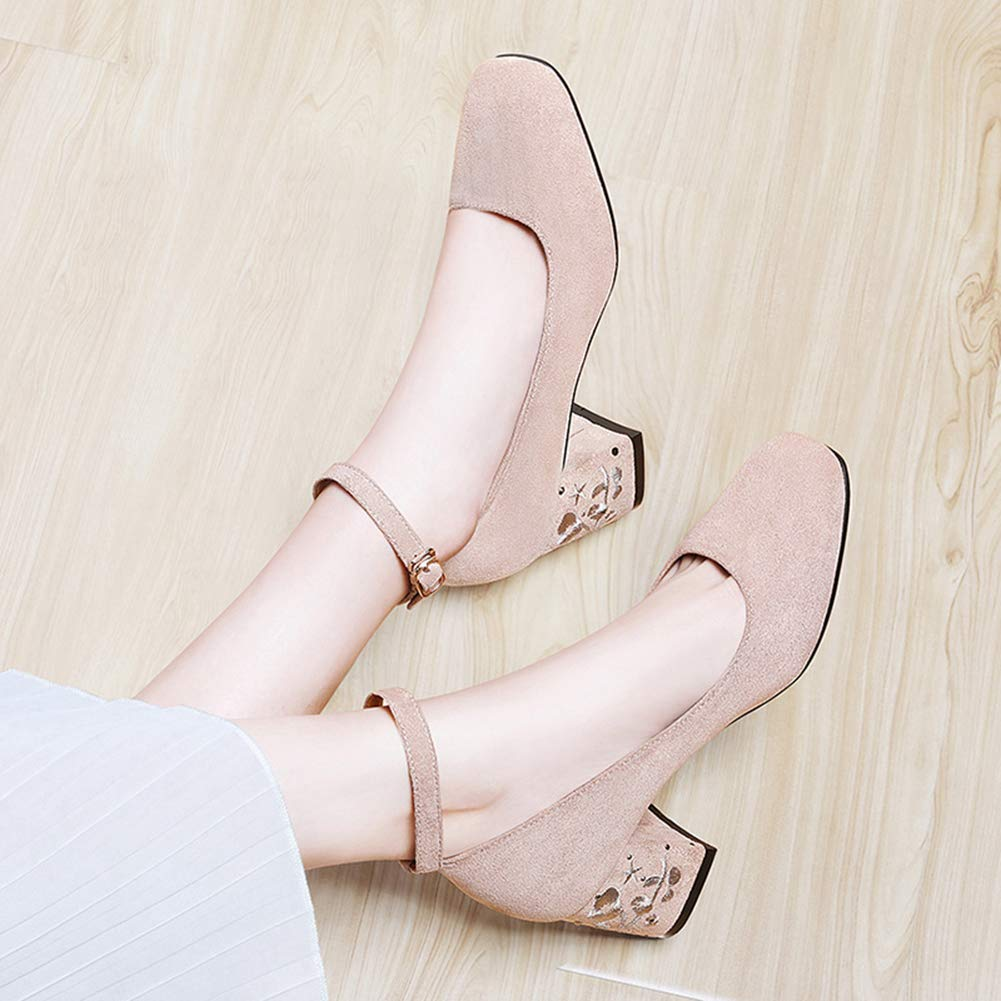 Women's Closed Square Toe Wrapped Pumps Block Casual 4.5 Loafers Fashion Ankle Strap Buckle Dress Shoes B07GZMYJK1 4.5 Casual M US apricot 1c778a