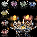 Home Decor Candleholder,Crystal Glass Lotus Candle Holders Creative Decoration for Home Decoration, Votive Activity, Wedding, and Gift (B)