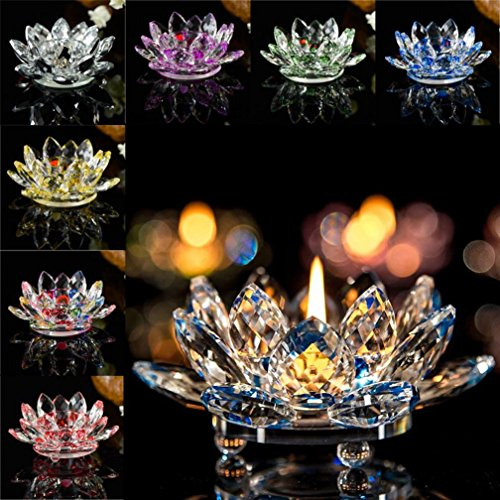 Home Decor Candleholder,Crystal Glass Lotus Candle Holders Creative Decoration for Home Decoration, Votive Activity, Wedding, and Gift (Harmony Candlestick)